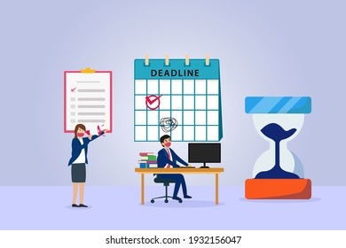 Businesswoman yelling on her worker to work hurry on deadline time in the office with hourglass timer
