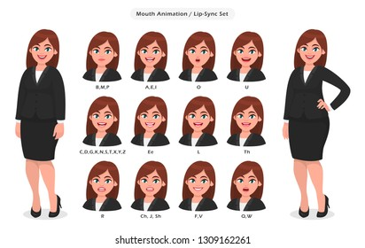 Businesswoman's lip sync, animated phonemes collection for animation. Set of various mouth animation for female cartoon character illustration. Woman's lips speaking animations in English language.