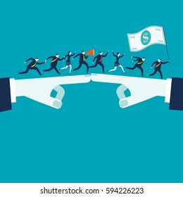 Businesswomen and businessmen running after money. Business and teamwork concept illustration