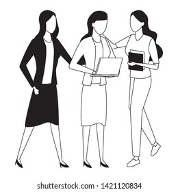 Businesswomen coworkers with clipboard office supplies and laptop in black and white isolated faceless avatar vector illustration graphic design