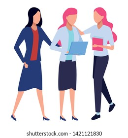 Businesswomen coworkers with clipboard office supplies and laptop colorful isolated faceless avatar vector illustration graphic design