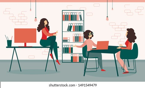 Businesswomen in Formal Suit Working in Modern Office Interior Area, Creative Team Employees Business Meeting, Worker Partners Sitting at Table, Corporate Relations. Cartoon Flat Vector Illustration