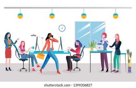 Businesswomen planning new business strategy. Women working at a modern office. Coworking office space. Easy to edit and customize. Flat style vector illustration.