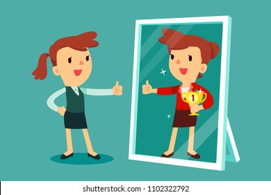 Businesswomen standing in front of a mirror looking at her reflection and imagine herself successful. Business concept.