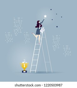 Businesswomen standing on stairs and reaching star on the sky - Business vector concept