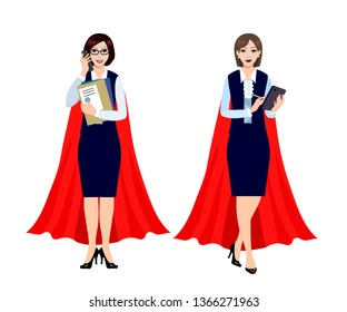 Businesswomen are superheroes.  Female office worker in the cape of a superhero.