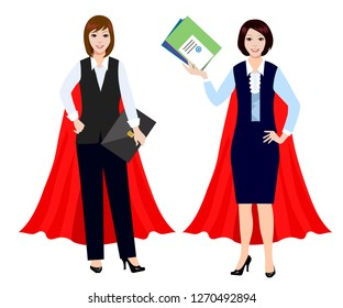 Businesswomen are superheroes. Office worker in the cloak of a superhero.