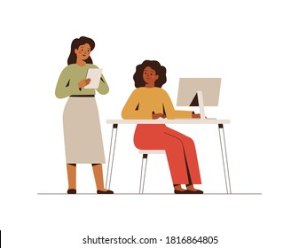 Businesswomen working on a joint project. Smiling female co-workers and entrepreneurs in the office on computers. Concept of business partnership and collaboration of girls. Vector illustration
