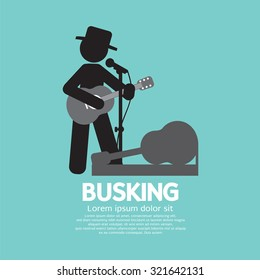 Busking, Street Performance Symbol Vector Illustration