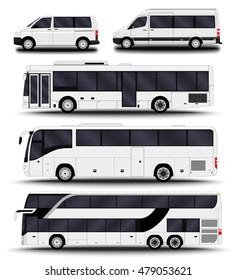 Busses, vans and minivans. Big set.