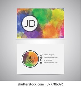 Bussines Card Design with watercolor background. Two sides of the card with number, web-site, email of the businessman.