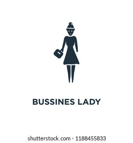 Bussines Lady icon. Black filled vector illustration. Bussines Lady symbol on white background. Can be used in web and mobile.