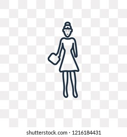 Bussines Lady vector outline icon isolated on transparent background, high quality linear Bussines Lady transparency concept can be used web and mobile