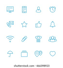bussines line vector blue icons
