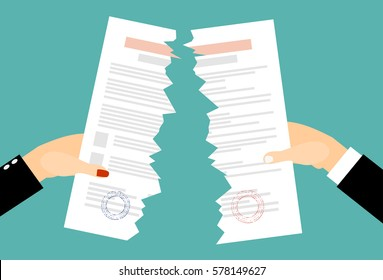 Bussines men and women Hands tearing apart a contract sheet of paper. Flat style
