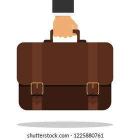 Bussiness, hand holding briefcase. The hand of a businessman holds a briefcase. Vector.