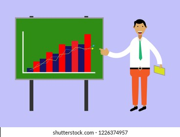 Bussiness man traning plan and growth of business in green board