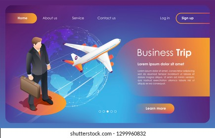 Bussiness trip. Business flights worldwide. Booking flights travel. Buy ticket online. Concept for web page, banner, app, presentation, social media. UI/UX user interface. Flat vector illustration.