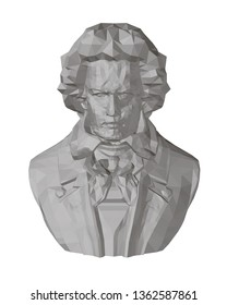 Bust of Beethoven. Polygonal bust of Beethoven. 3D. Front view sculpture. Vector illustration.