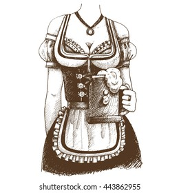 Bust of girl in traditional Bavarian dress with a mug of beer. Oktoberfest hand-drawn  illustration.