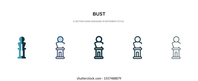 bust icon in different style vector illustration. two colored and black bust vector icons designed in filled, outline, line and stroke style can be used for web, mobile, ui