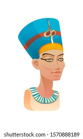 Bust of Nefertiti queen of Egypt in blue headdress with the image of cobra famous symbol of Egypt cartoon vector illustration