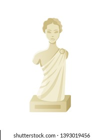 Bust of woman, stone antique sculpture, element of exhibition, portrait view of lady monument, goddess female, goddess model, statue for museum vector