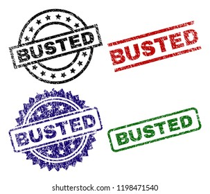BUSTED seal prints with corroded texture. Black, green,red,blue vector rubber prints of BUSTED tag with grunge texture. Rubber seals with round, rectangle, medal shapes.