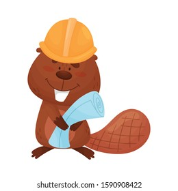 Busy Beaver Holding Construction Plan and Wearing Helmet Vector Illustration