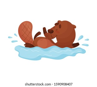 Busy Beaver Splashing in the Water Vector Illustration