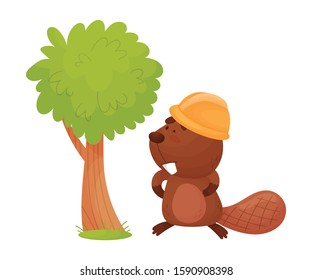 Busy Beaver Standing Near the Tree Wearing Helmet Vector Illustration
