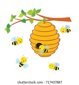 Busy bees flying around a beehive. Isolated.