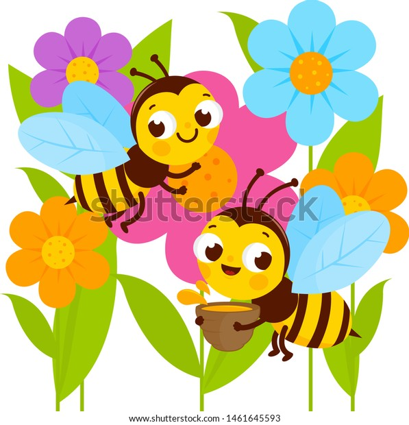 Busy Bees Flying Around Colorful Flowers Stock Vector Royalty Free 1461645593