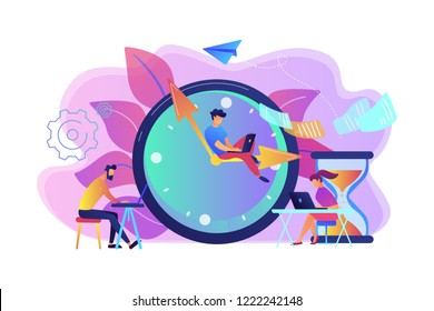 Busy business people with laptops hurry up to complete tasks at huge clock and hourglass. Deadline, project time limit, task due dates concept. Bright vibrant violet vector isolated illustration