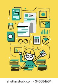 Busy Business woman with Tax documents. Tax concept. flat line icons design. vector illustration