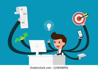 Busy businessman enjoy work hard.