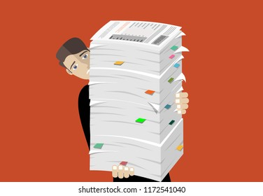 Busy businessman with pile of documents. Overworked employee. Bureaucracy. Vector flat design.
