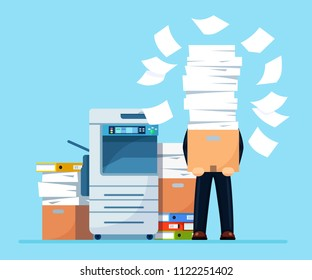 Busy businessman with pile of documents in parcel, package. Printer machine, fax Overworked employee. Stack of office printer paper folder in cardboard boxes.  Paperwork Bureaucracy Vector flat design
