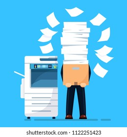 Busy businessman with pile of documents in parcel, package. Printer machine, fax Overworked employee. Stack of office printer paper in cardboard boxes.  Paperwork, ream Bureaucracy. Vector flat design