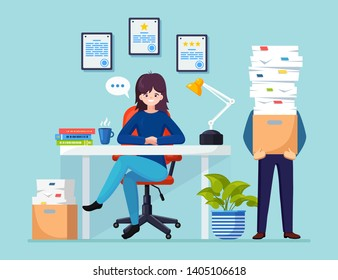 Busy businessman with stack of documents in carton, cardboard box. Business woman working at desk.  Office interior with computer, laptop, coffee. Paperwork. Bureaucracy concept. Vector flat design