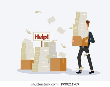 Busy businessman with stack of documents,Pile of paper, in cardboard box, help sign. Paperwork.  Stressed employee.Flat Vector cartoon character