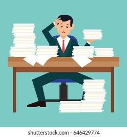 busy businessman stressed due to excessive work with full of paperwork in office, cartoon concept. vector illustration