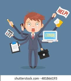 Busy businessmen character. Multitasking hard work. Vector flat cartoon illustration