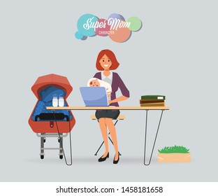 Busy businesswoman in mother with baby kid and working on laptop.