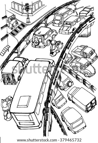 Busy City Sketch Stock Vector Royalty Free 379465732