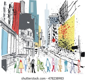 Busy cityscape of New York with buildings and pedestrians.