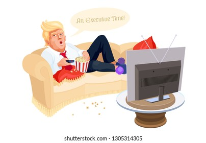 Busy Donald Trump is lying on the couch, eating popcorn and watching TV. Vector editorial illustration. President of the United States relaxes, saying 'An Executive Time!' Topical political caricature