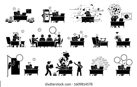 Busy executive, CEO, worker, or businessman at office stick figure pictogram icons. Vector illustrations of overworked, exhausted, tired, and overloaded man with too much work and distractions.
