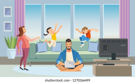 Busy Father Working at Home Cartoon Vector Concept With Dad Sitting on Floor in Living Room Interior, Using Laptop while Annoyed Mother Scolding Naughty Son and Daughter Jumping on Sofa Illustration