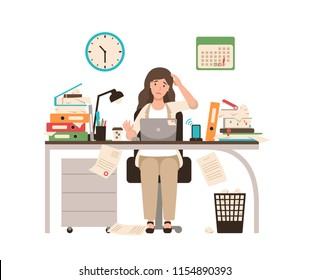 Busy female office worker or clerk sitting at desk completely covered with documents. Woman working at laptop overtime on day before deadline. Colorful vector illustration in flat cartoon style.